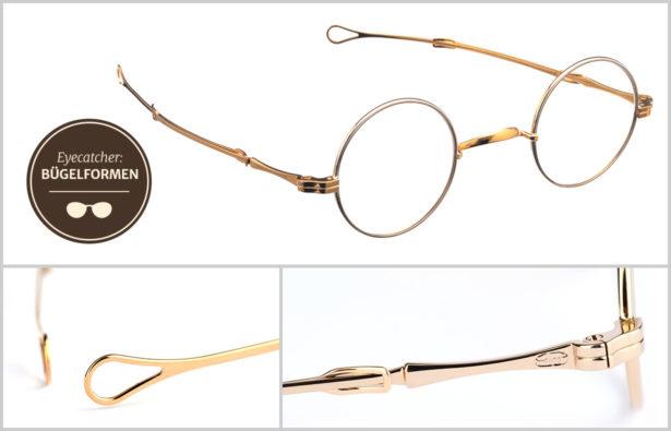 goldene Brillenbügel