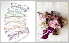 Pastellfarbene Brillenmodelle und Brautstrauß