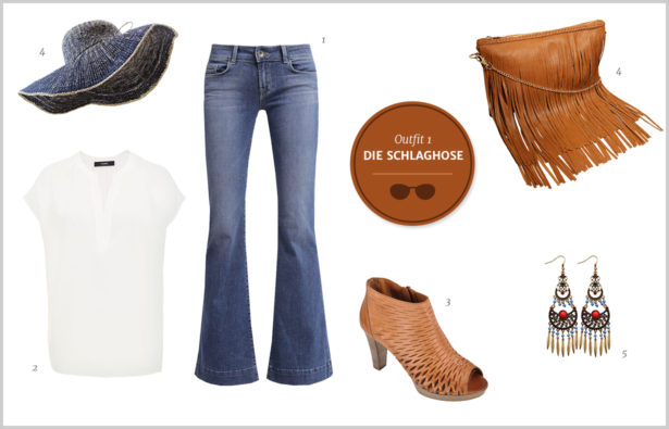 Denim-Look – Outfit Die Schlaghose