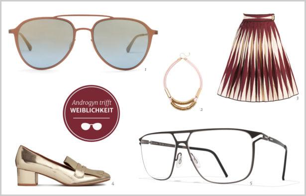 Der gekonnte Stilbruch Androgyne Doppelsteg-Brille Weiblichkeit