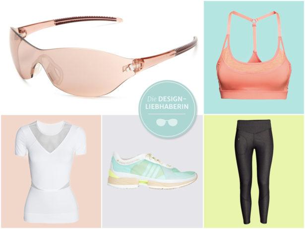 Welche Brille passt zum Designer-Sport-Outfit? Collage mit stylischer Sportbekleidung
