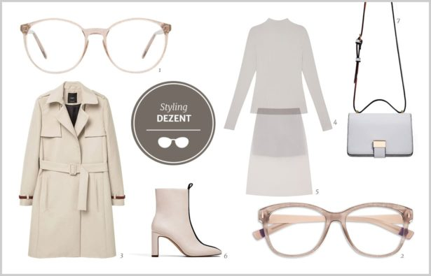 Outfit in Nude, Brille in Nude, Brille in Nude Optik
