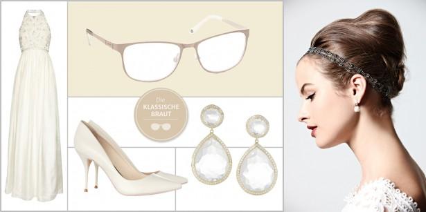 Braut mit Brille: Brautkleid, Brautschuhe und Brautschmuck