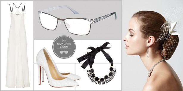 Braut mit Brille: Designermode, Statement-Schmuck und edle Hochsteckfrisur
