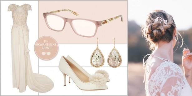 Braut mit Brille: Romantisches Hochzeitsoutfit, Braut-Styling mit Hochsteckfrisur, Brautschuhen und Accessoires