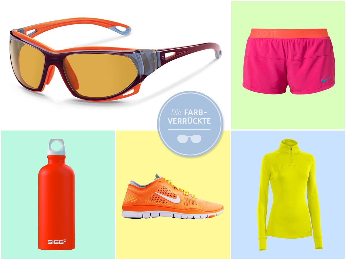 bf2b42fce8a67 Welche Brille passt zum knallbunten Sport-Outfit? Collage mit farbenfroher  Sportbekleidung