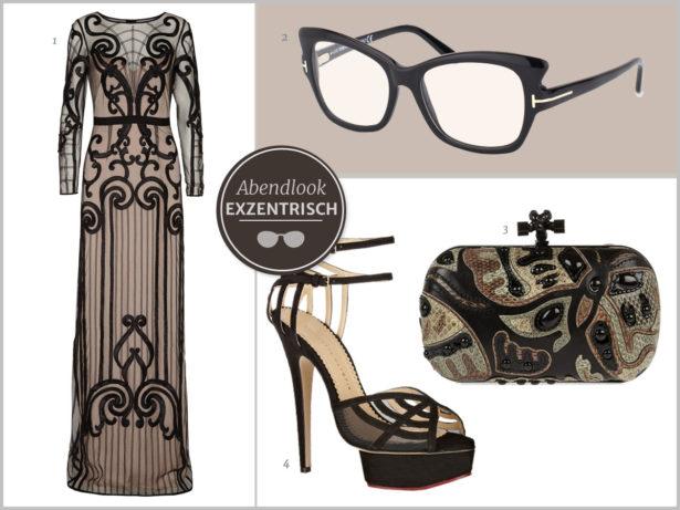 Glamour pur. Kleid und Accessoires greifen die Form der markanten Brille auf. Bilder: 1 Temperly London, 2 Tom Ford, 3 Bottega Veneta, 4 Charlotte Olympia