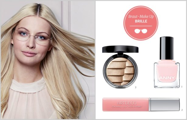 Heiraten mit Brille Braut Make-up