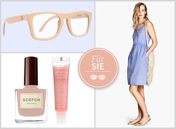 Styling mit Holzbrille für Frauen