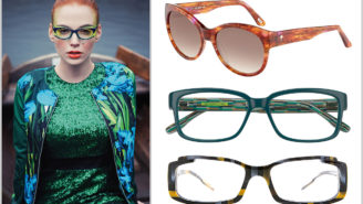 Muster-Brillen – Model und drei Muster-Brillen