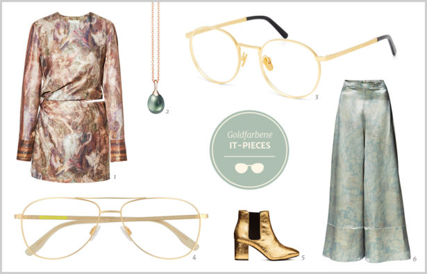 Trendbrillen für Partynächte goldfarbene IT-Pieces
