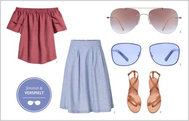 Pilotenbrille für Frauen Outfit 1 feminin und verspielt