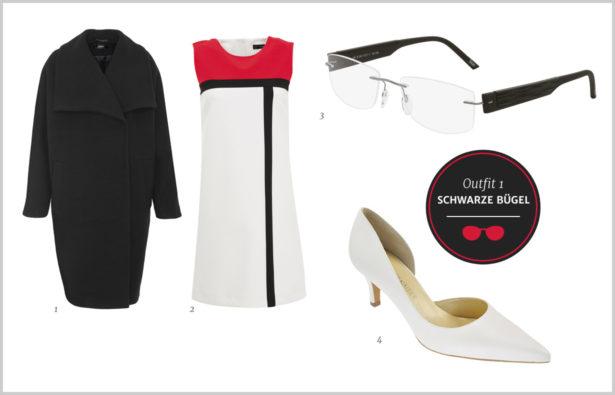 Rahmenloses Modell mit schwarzen Brillenbügeln