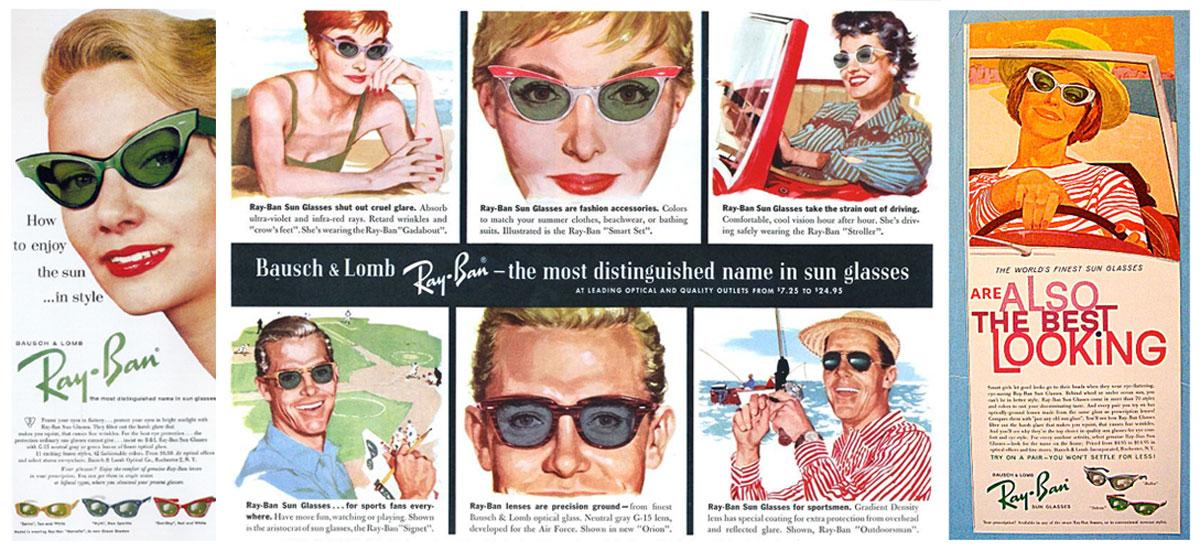 Vintage Brillen: Vintage Werbeanzeigen Retro Brillenmodelle Ray Ban
