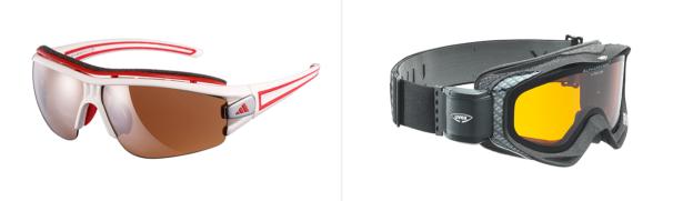 Winter-Sport- und Skibrillen mit unterschiedlichen Tönungen, Bilder: adidas eyewear, Rodenstock