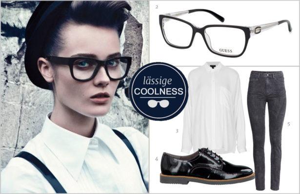 Zum burschikosen Outfit harmoniert eine markante schwarze Fassung. Bilder: 1 Dolce & Gabbana, 2 Guess, 3 Topshop, 4 Tamaris, 5 H&M
