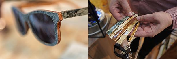 Naturmaterialien wie Holz, Stein, Horn oder sogar Mammutstoßzähnen prägen die Brillentrends 2014, Bilder: KGS und GHM