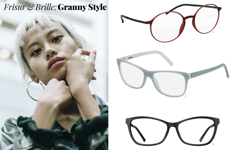 Granny Hairstyle und Brille