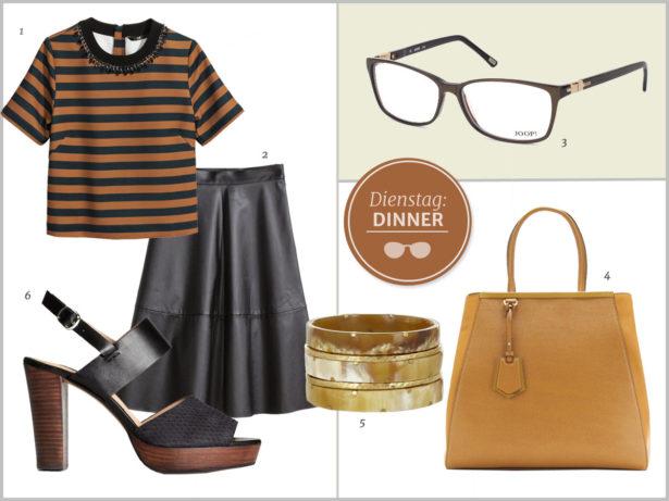 Trendiges Ausgeh-Outfit. Bilder: 1-2 H&M, 3 Joop, 4 Fendi, 5 Asley Pittman, 6 H&M