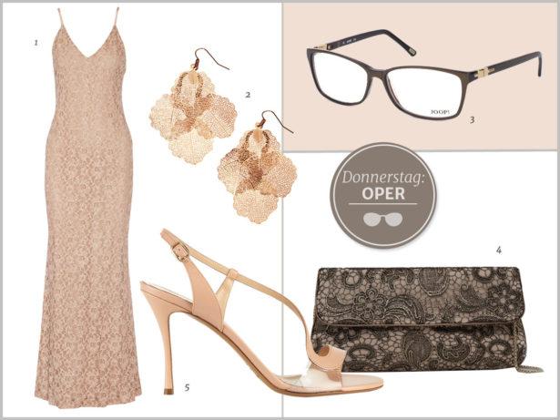Glamour-Look mit Brille für den Opernbesuch. Bilder: 1 Alice + Olivia, 2 H&M, 3 Joop, 4 Mango, 5 Nicholas Kirkwood