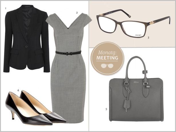 Seriöser und zeitloser Business-Look. Bilder: 1 Theory, 2 Michael Kors, 3 Joop, 4 Jimmy Choo, 5 Alexander McQueen