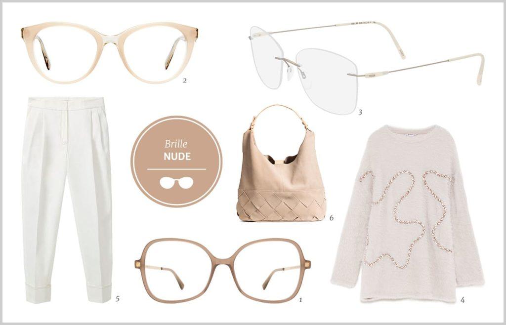 Brillen in Pastell weiss und Nude