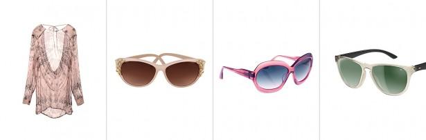 sonnenbrillentrends-2014: Transparentes Sommerkleid und drei Sonnenbrillen mit Transparenten Gestellen